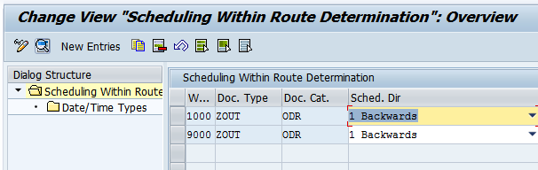 Scheduling within route determination